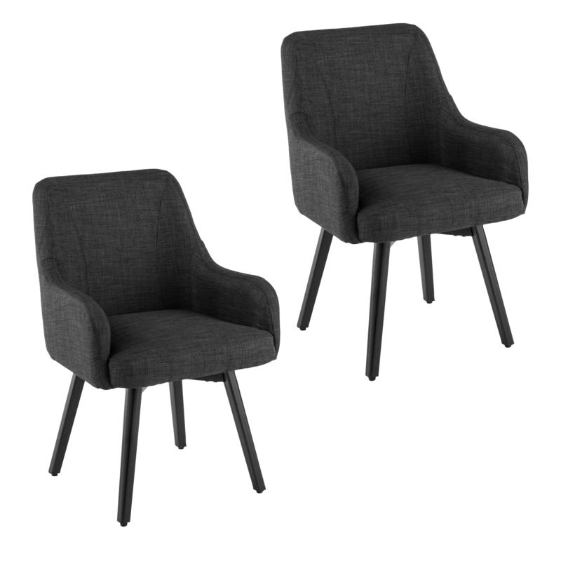 2020 Draco Pair Of Upholstered Swivel Arm Chairs – Charcoal Throughout Draco Armchairs (View 5 of 30)