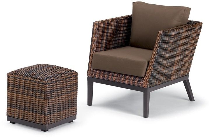 2020 Riverside Drive Barrel Chair And Ottoman Sets Pertaining To Garden Salino 2 Piece Sable Resin Wicker Woven Club Chair And Ottoman Pouf Lounge Set – Toast Cushions (View 18 of 30)