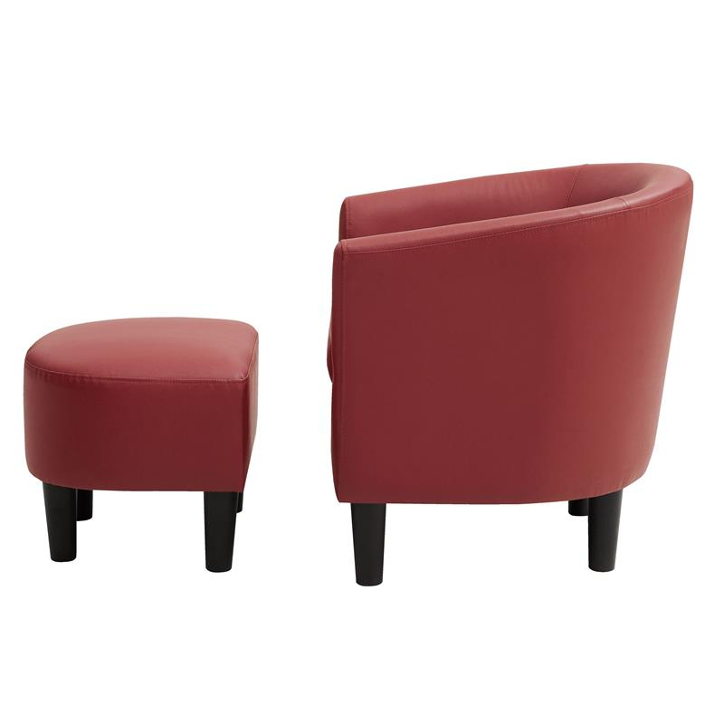 2020 Yl Grand Jazouli Faux Leather Barrel Accent Chair And Ottoman In Red In Jazouli Linen Barrel Chairs And Ottoman (View 14 of 30)