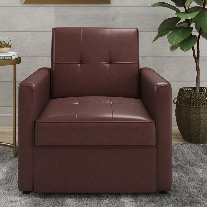 Abdiwali Convertible Chair In Newest Perz Tufted Faux Leather Convertible Chairs (View 17 of 30)