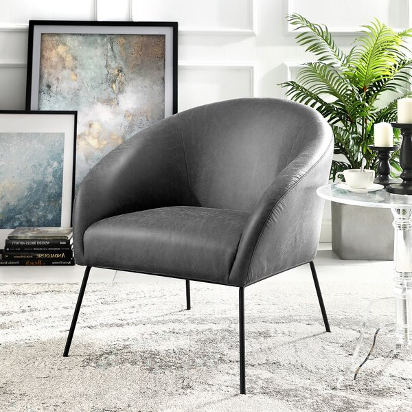 "Achilles 31"" W Faux Leather Barrel Chair With Well Known Faux Leather Barrel Chairs (View 22 of 30)"
