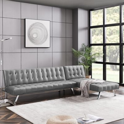 Alexis Mae 100'' Faux Leather Left Hand Facing Convertible Sofa & Chaise Fabric: Gray Faux Leather In 2020 Onderdonk Faux Leather Convertible Chairs (View 29 of 30)