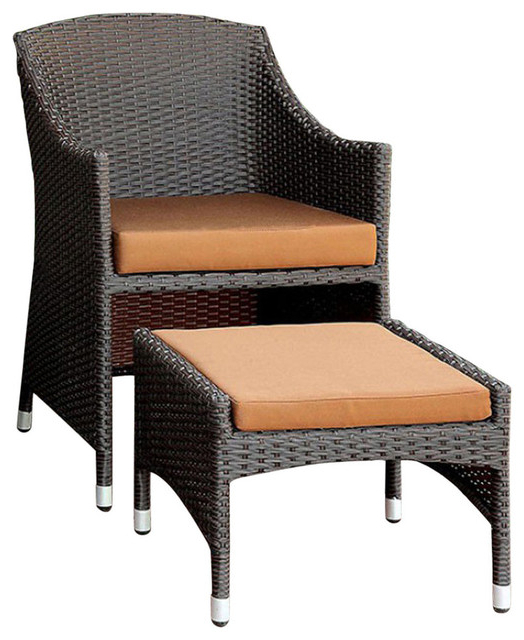 Almada Bm131996 Contemporary Arm Chair With Ottoman, Brown And Espresso For Favorite Almada Armchairs (View 2 of 30)