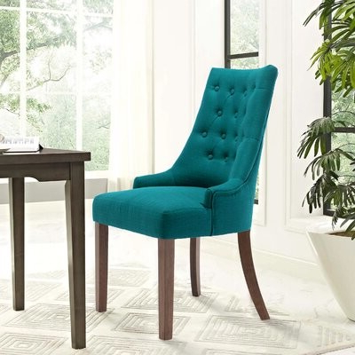 Alshawn Tufted Upholstered Parsons Chair Color: Green In Latest Alwillie Tufted Back Barrel Chairs (View 11 of 30)