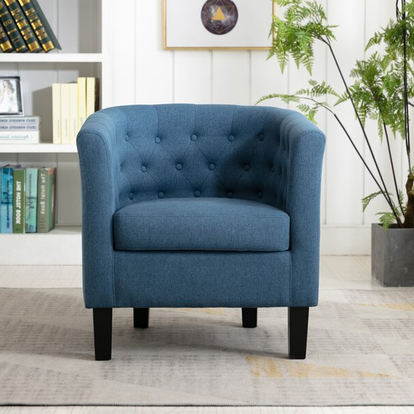 Alwillie Tufted Back Barrel Chairs Inside Famous Blue Barrel Accent Chair (View 2 of 30)