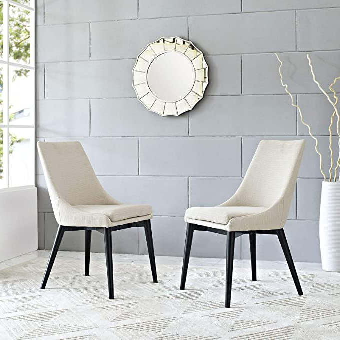 Amazon: Carlton Wood Leg Upholstered Dining Chair: Home Regarding Trendy Carlton Wood Leg Upholstered Dining Chairs (View 5 of 30)