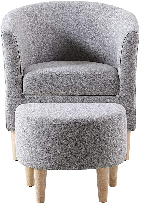 Amazon: Dazone Modern Accent Chair Upholstered Comfy Arm For Well Known Danny Barrel Chairs (set Of 2) (View 12 of 30)