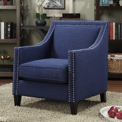 Amazon: Studded Arm Chair In Blue, Includes Pocket Coils With Most Recent Polyester Blend Armchairs (View 24 of 30)