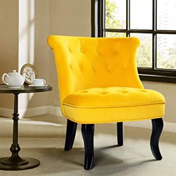 Amazon: Velvet Fabric Accent Chair Modern Upholstered Pertaining To Trendy Erasmus Velvet Side Chairs (set Of 2) (View 23 of 30)