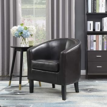 Amazon: Yaheetech Accent Chairs Set Of 2 Faux Leather In Well Known Hazley Faux Leather Swivel Barrel Chairs (View 23 of 30)