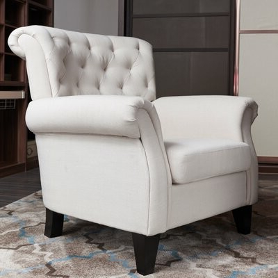 Andover Millstm Mathis Wingback Chair Andover Mills Fabric: Cream Beige Inside Well Known Ronald Polyester Blend Armchairs (View 25 of 30)