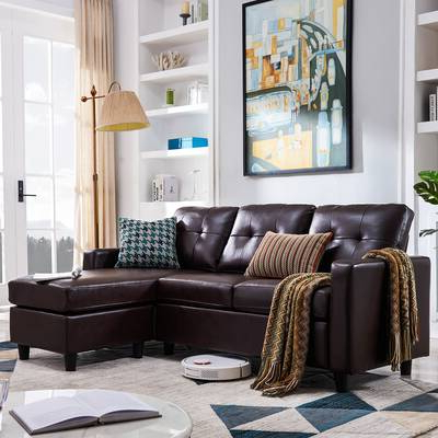 """Annegret Faux Leather Barrel Chair And Ottoman Sets Intended For Most Popular Ebern Designs Aelber 118"""" Wide Reversible Modular Sofa (View 30 of 30)"""