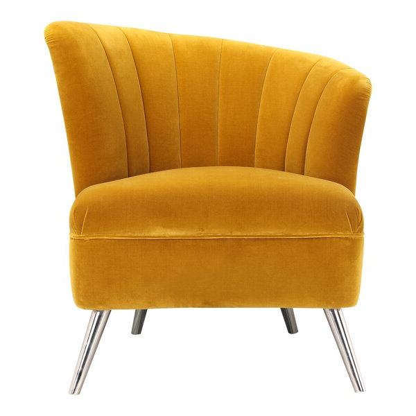 Annegret Faux Leather Barrel Chair And Ottoman Sets Pertaining To Latest Mustard Yellow Barrel Chair (View 12 of 30)