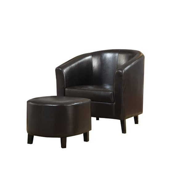Annegret Faux Leather Barrel Chair And Ottoman Sets With Regard To Widely Used Brown Leather Chair And Ottoman (View 6 of 30)