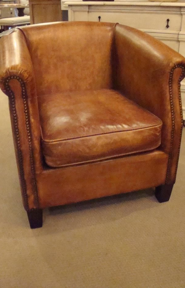Antique Buffalo Distressed Top Grain Leather Accent Within 2019 Sheldon Tufted Top Grain Leather Club Chairs (View 14 of 30)