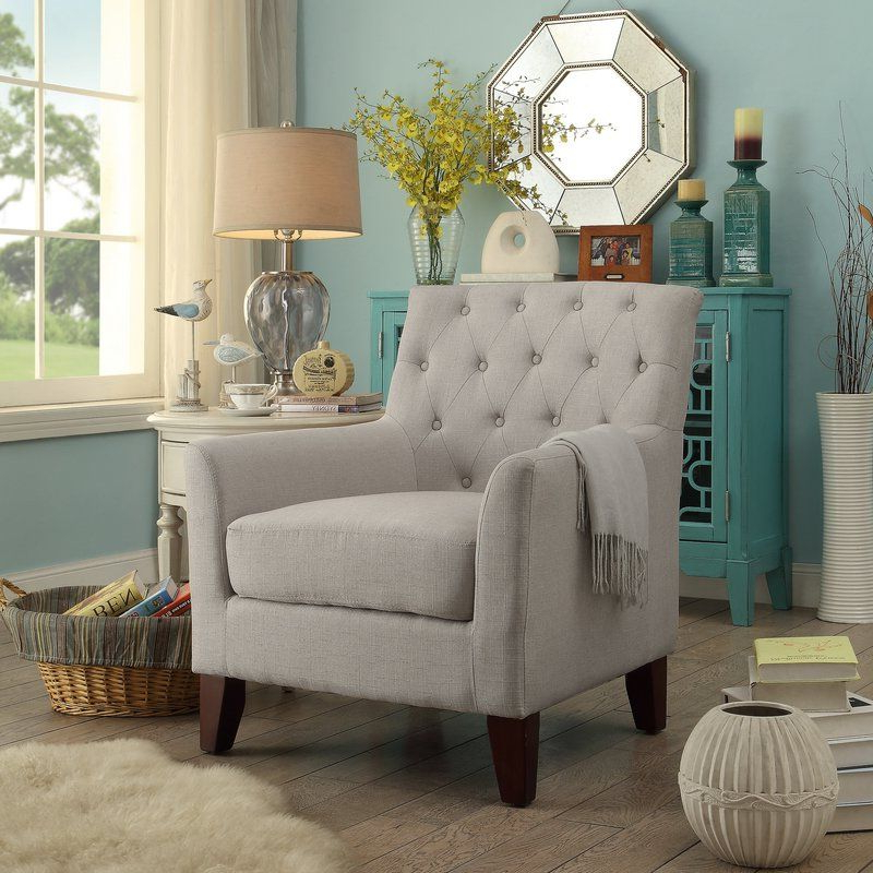 Arm Chairs Living Room, Furniture With Trendy Galesville Tufted Polyester Wingback Chairs (View 20 of 30)