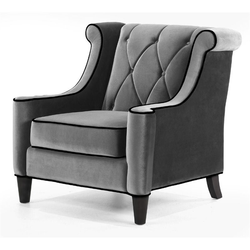 Armen Living Barrister Velvet Tufted Chair In Gray Throughout Trendy Harmon Cloud Barrel Chairs And Ottoman (View 16 of 30)