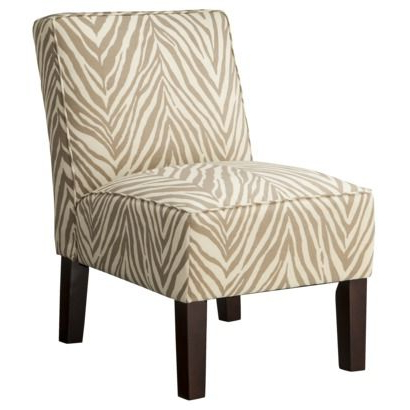 Armless Upholstered Accent Slipper Chair – Khaki Zebra Inside Most Current Armless Upholstered Slipper Chairs (View 8 of 30)