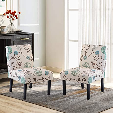 Armless Upholstered Slipper Chairs Within Widely Used Upholstered Accent Chair Set Of 2, Armless Fabric Slipper Chair For Living Room (2 Pc, Beige&floral) (View 5 of 30)