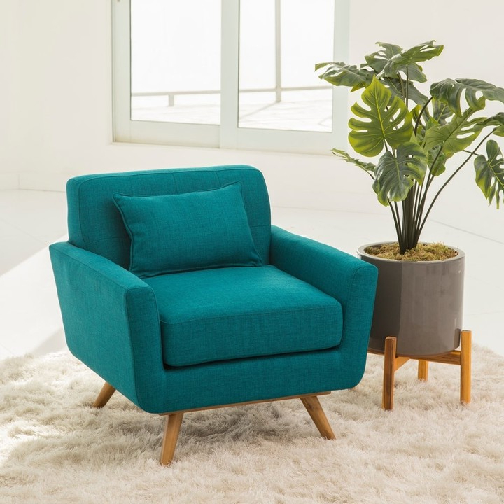 Armory Fabric Armchairs With Regard To Most Recent Bradley Mid Century Teal Fabric Armchair (View 25 of 30)