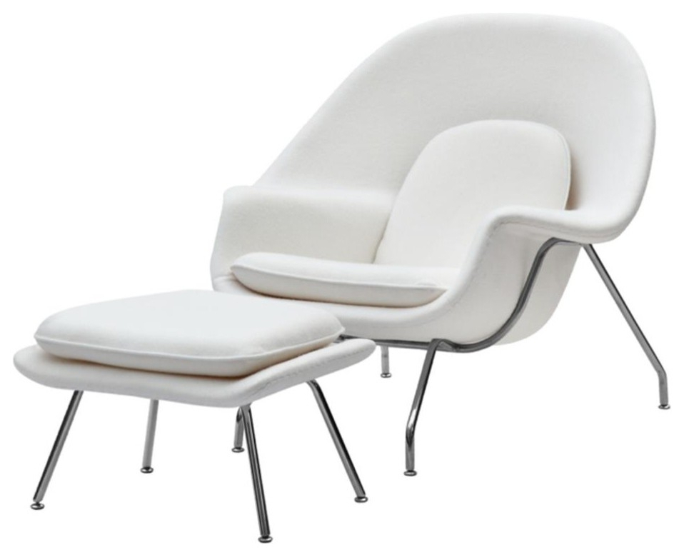 Artemi Barrel Chair And Ottoman Sets Inside Famous Eero Saarinen Style Womb Chair And Ottoman White, White (View 21 of 30)
