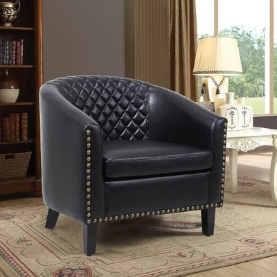 "Artimese 29"" W Faux Leather Barrel Chair Fabric: Black With Regard To Newest Artressia Barrel Chairs (View 9 of 30)"