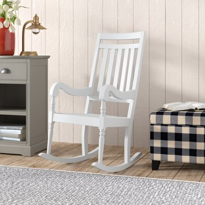 Barnard Polyester Barrel Chairs Throughout Newest Glen Ullin Rocking Chair Frame Color: White (View 24 of 30)