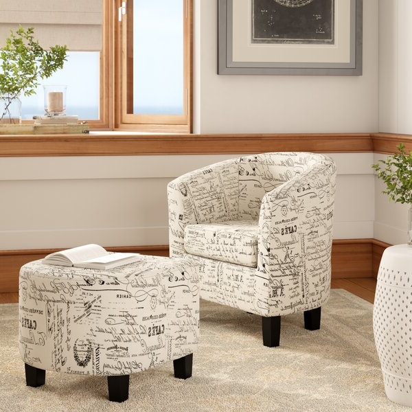 Barrel Chair Ottoman Within Trendy Annegret Faux Leather Barrel Chair And Ottoman Sets (View 4 of 30)