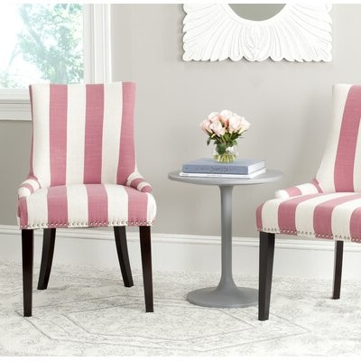 Beachcrest Hometm Abby Upholstered Side Chair Beachcrest Home Upholstery Color: Pink / White Stripe In Favorite Bob Stripe Upholstered Dining Chairs (set Of 2) (View 17 of 30)