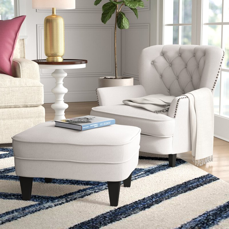 """Becker 24"""" Armchair And Ottoman Throughout Most Up To Date Ronald Polyester Blend Armchairs (View 14 of 30)"""