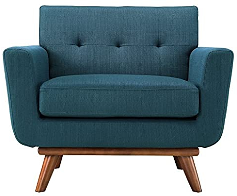 Belz Tufted Polyester Armchairs With Most Up To Date Modway Engage Mid Century Modern Upholstered Fabric Accent Arm Lounge Chair In Azure, Armchair (View 19 of 30)