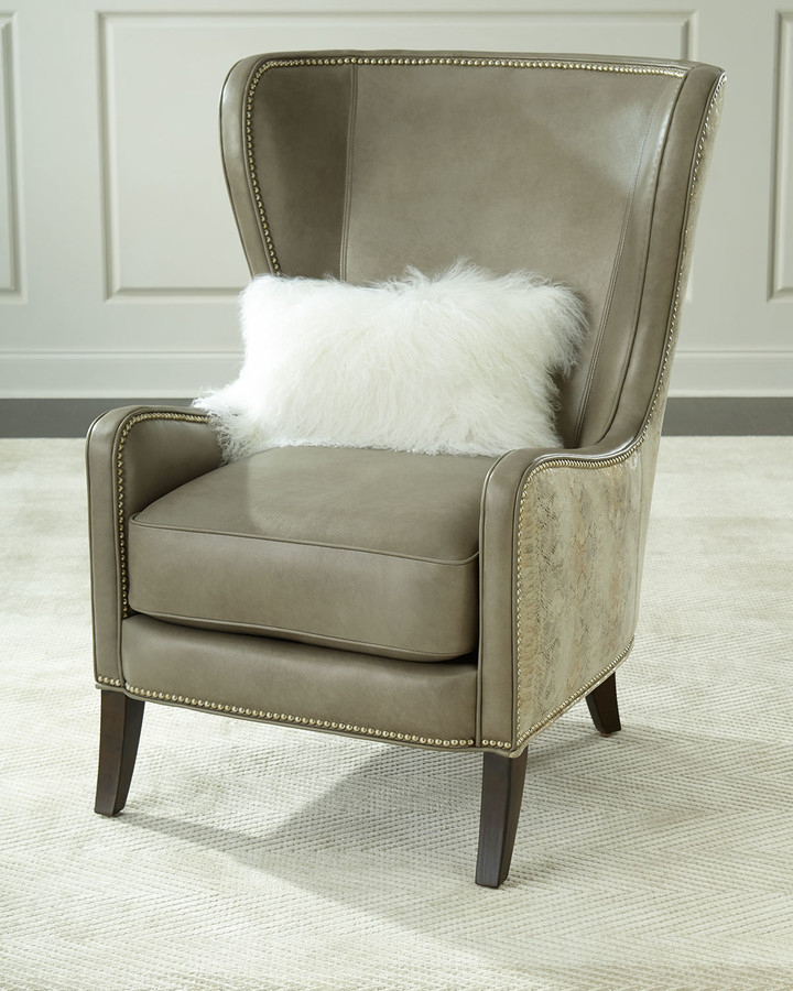 Best And Newest Pelham Leather Wingback Chair, Gray Metallic In Saige Wingback Chairs (View 18 of 30)