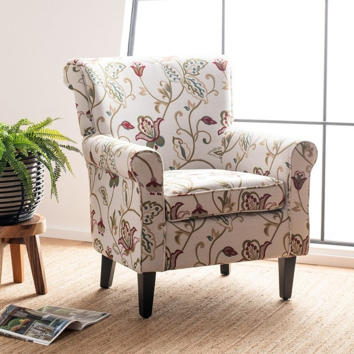 """Bethine Polyester Armchairs (set Of 2) For Best And Newest Gramercy Red/ Ivory Floral Club Chair – 29.8"""" X 32.8"""" X (View 23 of 30)"""