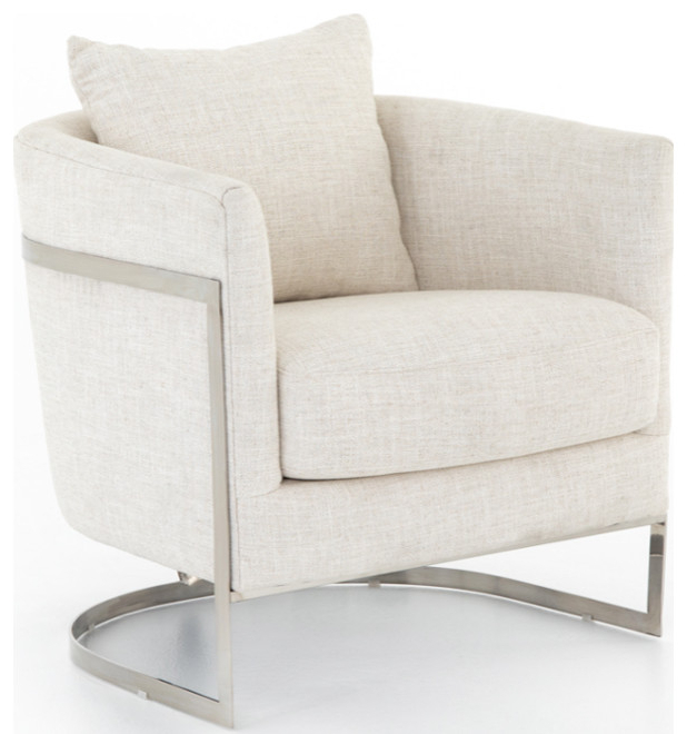 Bettina Chair, Natural White With Well Known Allis Tufted Polyester Blend Wingback Chairs (View 25 of 30)