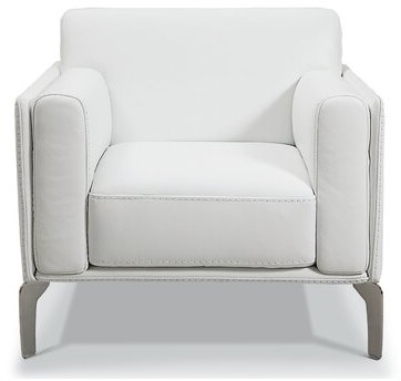 """Blaithin Simple Single Barrel Chairs Within Best And Newest Rosado 35"""" W Full Grain Leather Armchair Upholstery Color: White Genuine Leather (View 14 of 30)"""