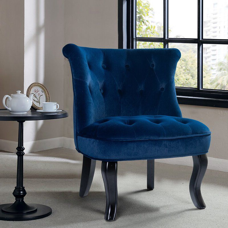 Blue Upholstered With Regard To Maubara Tufted Wingback Chairs (View 7 of 30)