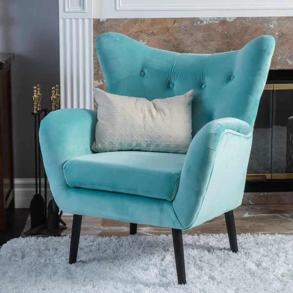Blue Velvet Inside Bouck Wingback Chairs (View 19 of 30)