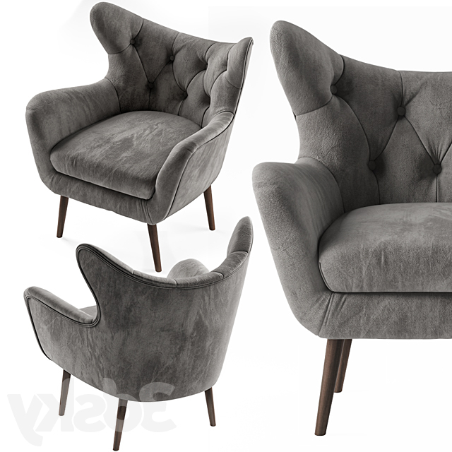 Bouck Wingback Chairs Pertaining To Best And Newest 3d Models: Arm Chair – Bouck Wingback Chair (View 6 of 30)