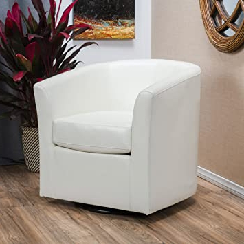 Brister Swivel Side Chairs In Well Known Great Deal Furniture Corley Off White Leather Swivel Club Chair (View 22 of 30)
