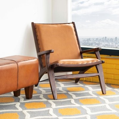 """Broadus Genuine Leather Suede Side Chairs Within Best And Newest Aarush 26"""" W Top Grain Leather Lounge Chair Fabric: Tan Genuine Leather (View 9 of 30)"""