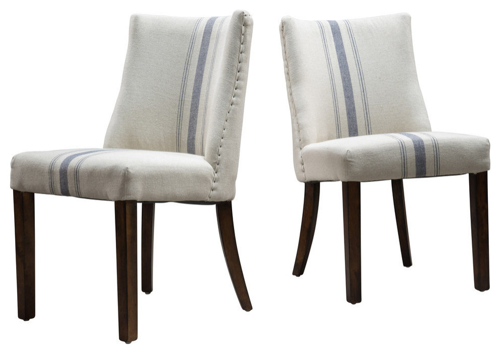 Bucci Slipper Chairs In Well Liked Gdf Studio Rydel Fabric Dining Chairs, Blue Stripe, Set Of (View 29 of 30)