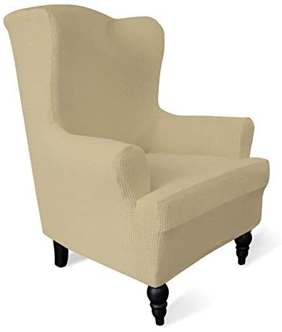 Busti Wingback Chairs In Preferred Easy Going Stretch Wingback Chair Sofa Slipcover 1 Piece Sofa Cover Furniture Protector Couch Soft With Elastic Bottom Spandex Jacquard Fabric Small (View 15 of 30)