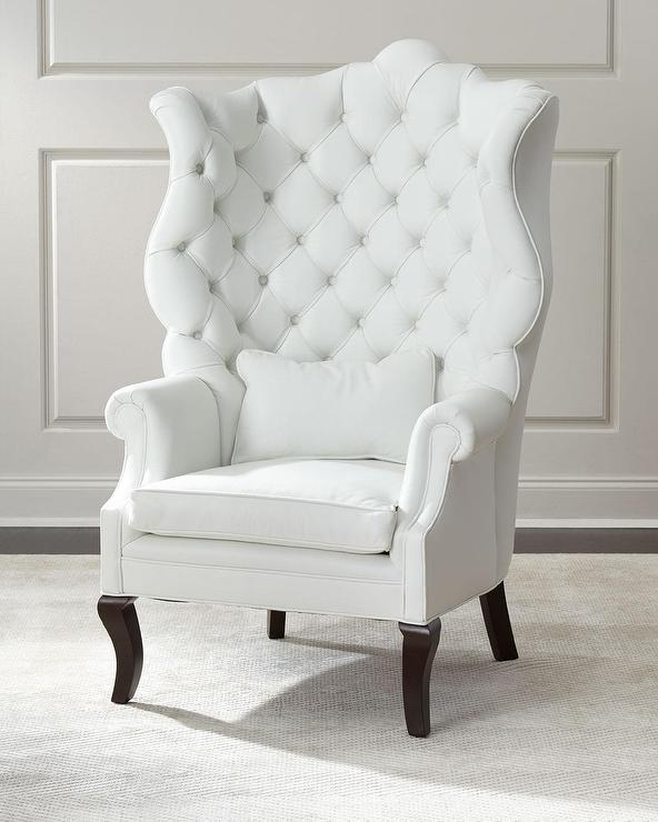Busti Wingback Chairs Inside Trendy Pantages White Leather Wing Chair (View 24 of 30)