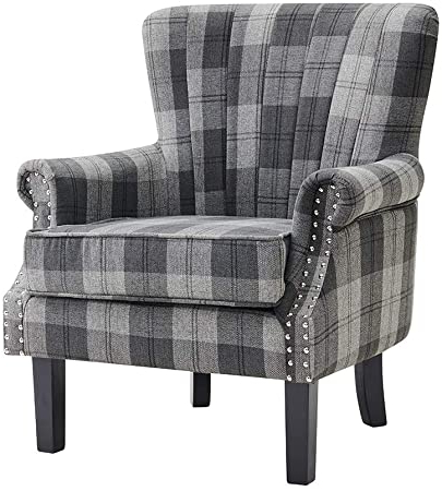 Busti Wingback Chairs Pertaining To Best And Newest Furniture Armchair Tartan Fabric Wing Back Occasional Accent (View 27 of 30)