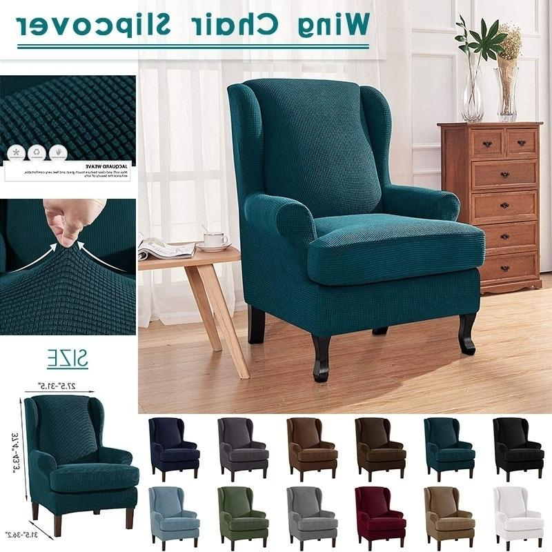 Busti Wingback Chairs Throughout Most Current Stretch Soft Slipcover Wing Chair Cover Wingback Armchair (View 21 of 30)