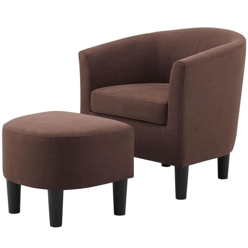 Camilla Microfiber Fabric Barrel Chair With Ottoman Set For Latest Faux Leather Barrel Chair And Ottoman Sets (View 25 of 30)