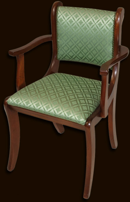 Carlton Wood Leg Upholstered Dining Chairs Inside Well Liked Reproduction Fully Upholstered Sabre Leg Dining Chair In Yew (View 17 of 30)