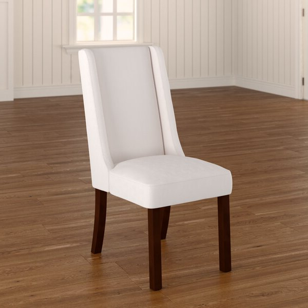 Carlton Wood Leg Upholstered Dining Chairs Pertaining To 2019 Beige Enjoy Set Of 4 Premium Fabric Linen Dining Chairs Roll (View 12 of 30)