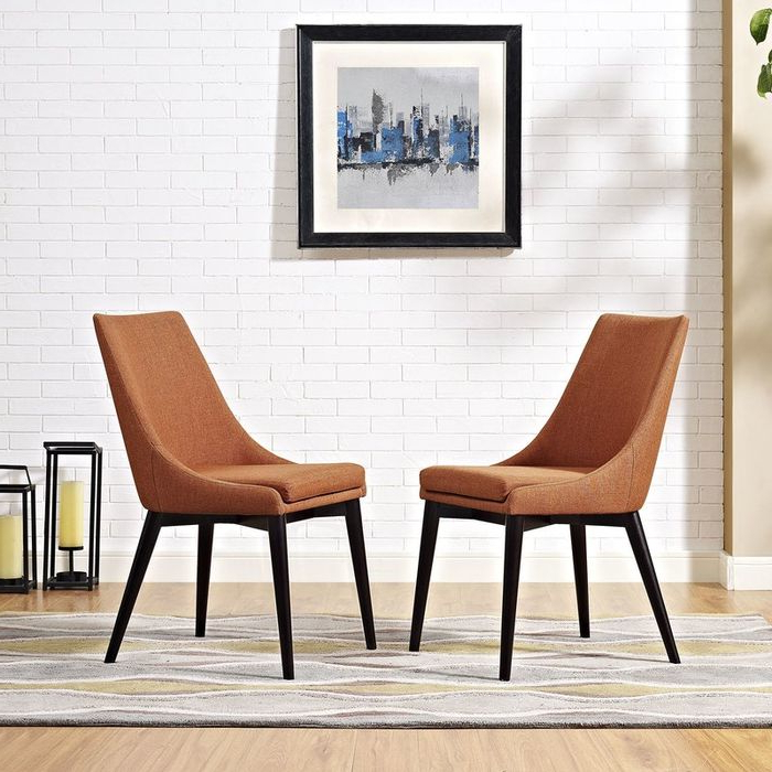 Carlton Wood Leg Upholstered Dining Chairs Pertaining To Favorite Carlton Wood Leg Upholstered Dining Chair – Wayfair (View 6 of 30)