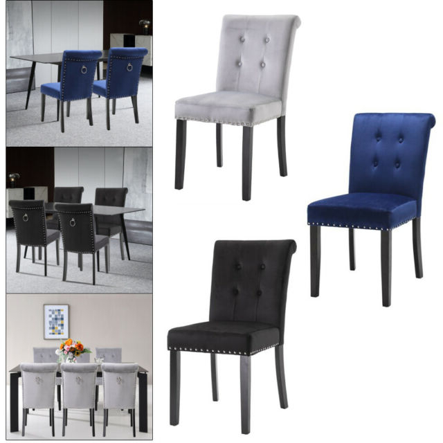 Carlton Wood Leg Upholstered Dining Chairs Pertaining To Well Known 2/4/6 Set Velvet Dining Chair Accent Upholstered Wood Leg Chair Kitchen Formal (View 8 of 30)